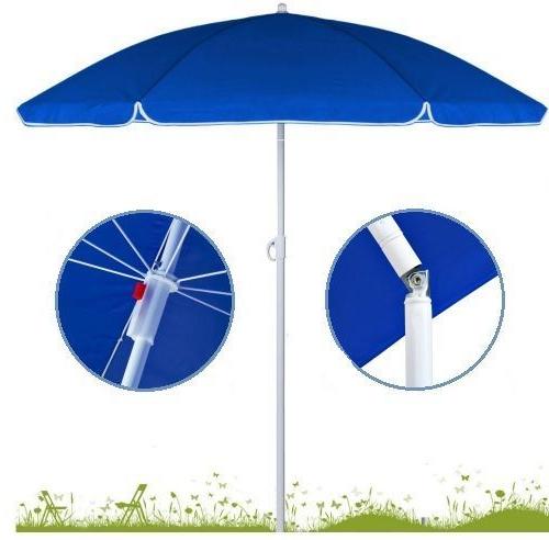 Tilt Beach Umbrellas Within Widely Used Folding Beach Umbrella Adjustable Travel Garden Parasol Patio Tilt S (View 2 of 25)