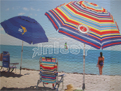 Tommy Bahama 7' Beach Umbrella W/ Tilt Multi Color Or Blue Fast Free  Shipping! In Popular Tilt Beach Umbrellas (View 6 of 25)