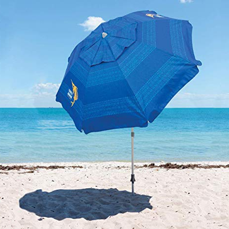 Tommy Bahama Beach Umbrella 2019 (Blue) With Regard To Best And Newest Leasure Fiberglass Portable Beach Umbrellas (View 18 of 25)