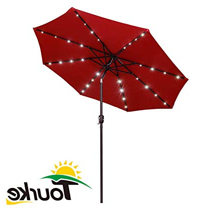 Tourke 9Ft Led Lighted Patio Market Umbrella Outdoor Solar Powered Table  Steel Umbrella With Tilt And Crank, Wine Inside Most Up To Date Woll Lighted Market Umbrellas (View 11 of 25)