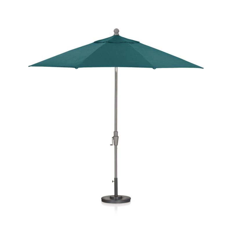 Trendy 9' Round Sunbrella ® Bold Turquoise Patio Umbrella With Tilt Silver Intended For Bondi Square Cantilever Umbrellas (View 24 of 25)
