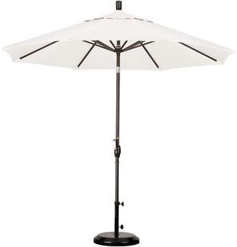 Trendy Hyperion Market Umbrellas Within One Kings Lane 9' Market Umbrella, Bronze/white (View 16 of 25)