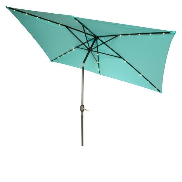 Trendy Solar Powered Led Patio Umbrellas With Regard To Shop Rectangular Solar Powered Led Lighted Patio Umbrella – 10' X (View 23 of 25)