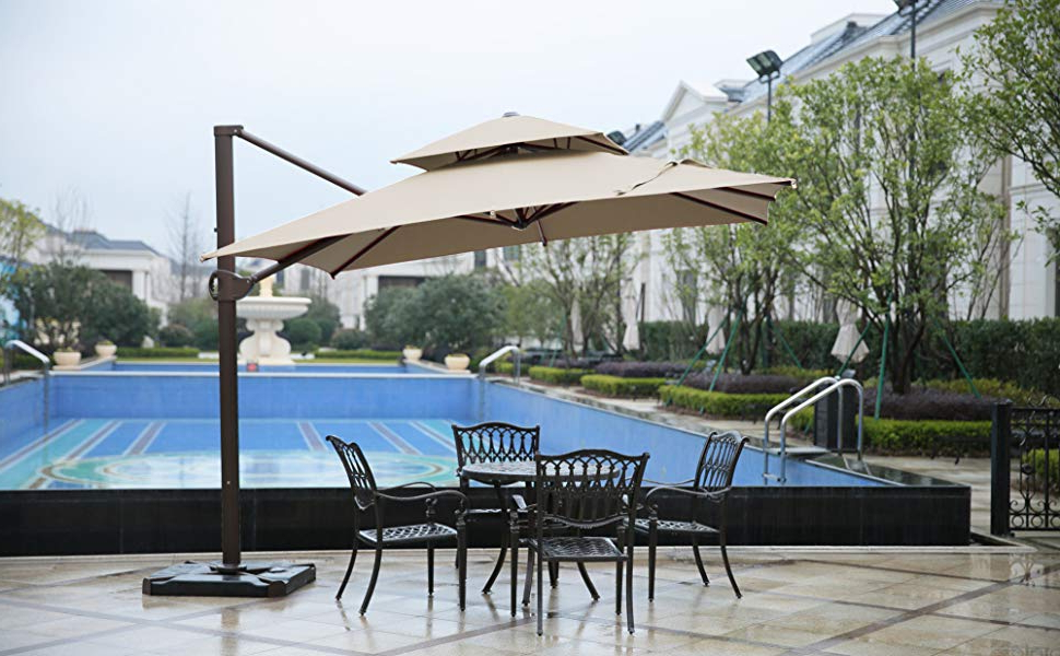 Trendy Sorara 1010 Ft Square Offset Cantilever Umbrella Patio Hanging Umbrella  With Dual Wind Vent, Cross Base & 4 Pcs Base Weight And Umbrella Cover, Regarding Lytham Cantilever Umbrellas (View 22 of 25)