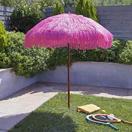 Tropical Patio Umbrellas Throughout Most Popular Bayside21 Tiki Umbrella 6.5' Thatch Patio Umbrella Tropical Palapa Raffia Tiki Hut Hawaiian Hula Beach Umbrella With Tilt Pink Color ( (View 23 of 25)