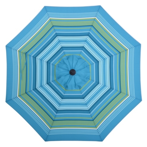 Tropical Patio Umbrellas With Regard To Newest Allen + Roth Teal Green Stripe Market 9 Ft Auto Tilt Round Patio (View 11 of 25)
