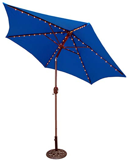 Tropishade Tropilight Led Lighted 9 Ft Bronze Aluminum Market Umbrella With  Royal Blue Polyester Cover With Fashionable Coggeshall Led Lighted Market Umbrellas (View 9 of 25)