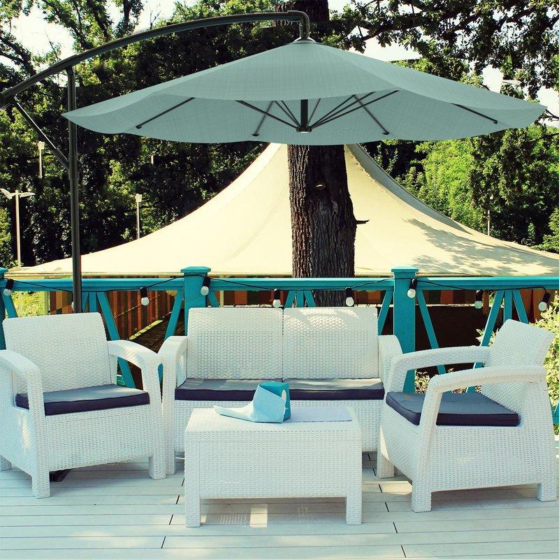 Vassalboro 10' Cantilever Umbrella Inside Well Known Maglione Fabric Cantilever Umbrellas (View 21 of 25)