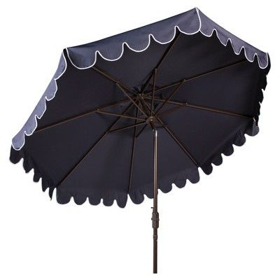 Venice Single Scallop 9' Crank Outdoor Auto Tilt Umbrella - Navy for Current Hookton Crank Market Umbrellas