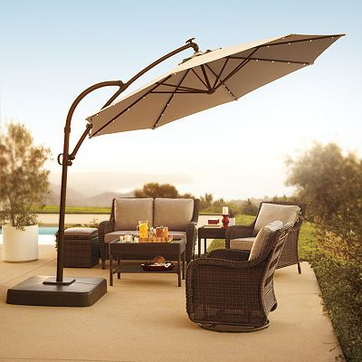 Voss Cantilever Sunbrella Umbrellas Intended For Best And Newest Sonoma Outdoors Crank And Tilt Lighted Offset Cantilever Umbrella (View 21 of 25)