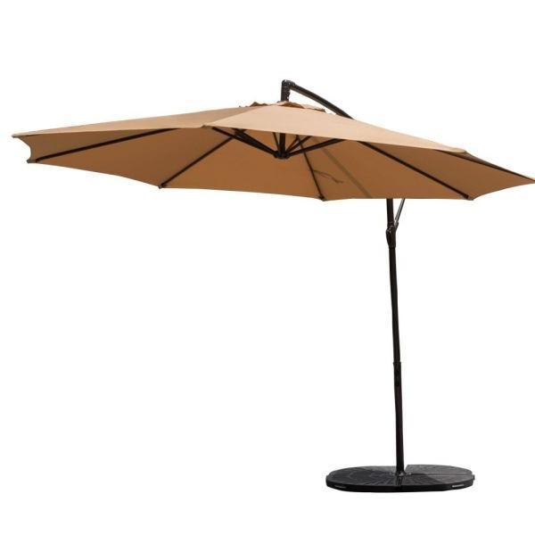 Well Known 10 Feet Patio Umbrella Aluminum Table Market Hanging Umbrellas, 8 Steel  Ribs, Cross Base And Crank, Beige 1 Unit / Box Pertaining To Hurt Market Umbrellas (View 6 of 25)