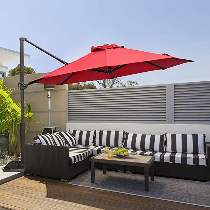 Well Known Abba Patio 11 Ft Offset Patio Umbrella With Crank Lift And Tilt And Cross  Base, Dark Red In Farnham Cantilever Umbrellas (View 7 of 25)