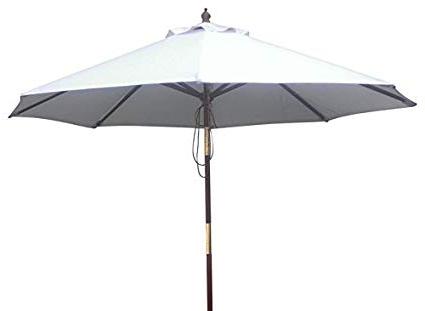 Well Known Amazon : Teakfurniturecenter Patio Umbrella 9' Wooden Patio With Regard To Wiebe Market Sunbrella Umbrellas (View 15 of 25)