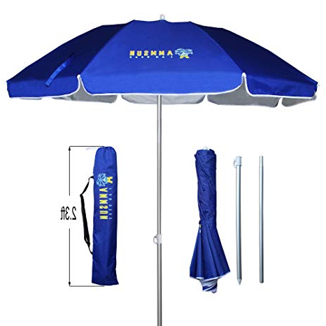 Well Known Ammsun Folded Beach Umbrella With Tilt Portable Silver Coating Inside Uv  Protection Stripe For Travel,sun And Outdoor Fits In Suitcase Regarding Tilt Beach Umbrellas (View 5 of 25)