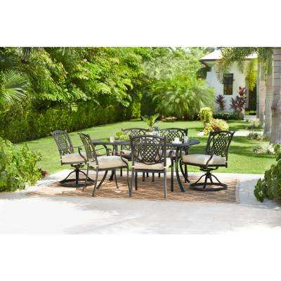 Well Known Belcourt 7 Piece Metal Outdoor Dining Set With Cushionguard Oatmeal Cushions In Elaina Cantilever Umbrellas (View 24 of 25)