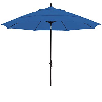 Well Known California Umbrella 11 Feet Olefin Fabric Fiberglass Rib Crank Lift Collar  Tilt Aluminum Market Umbrella With Black Pole, Royal Blue In Lorinda Market Umbrellas (View 6 of 25)