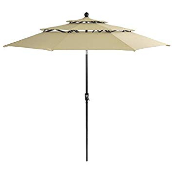 Well Known Caravelle Market Umbrellas Inside Amazon : Pebble Lane Living Exclusive 3 Tier Patio Umbrella With (View 24 of 25)