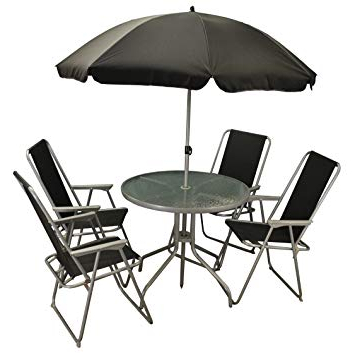 Well Known Eastwood Market Umbrellas Regarding Selections 6 Piece Metal Garden Patio Furniture Set With Folding (View 24 of 25)