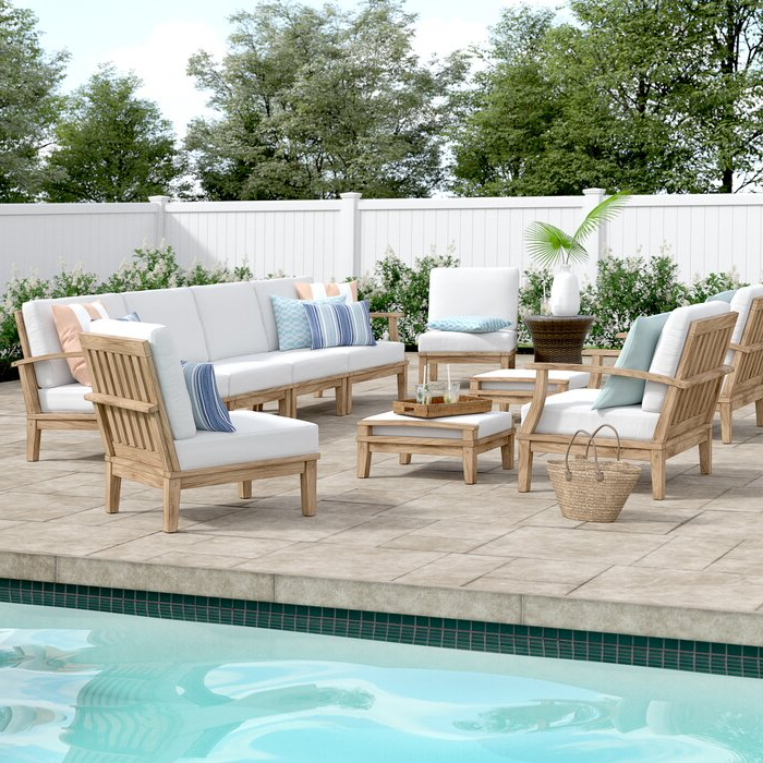 Well Known Elaina 10 Piece Teak Sectional Seating Group With Cushions Intended For Elaina Cantilever Umbrellas (View 13 of 25)