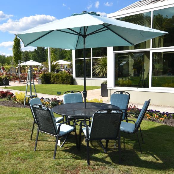 Well Known Farnham Cantilever Umbrellas Throughout Garden Furniture: Siena 6 Seater Suite – Sage Or Aqua (View 21 of 25)
