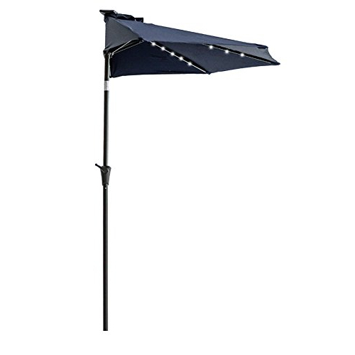 Well Known Flame&shade 9′ Led Light Half Round Outdoor Parasol Patio Market Intended For Half Round Market Umbrellas (View 15 of 25)
