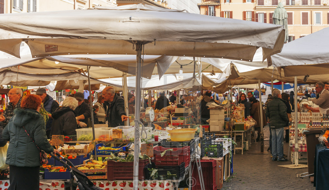 Well Known Frome Market Umbrellas For Scene Frome Campo De Fiori Historical Street Market In Rome (View 23 of 25)