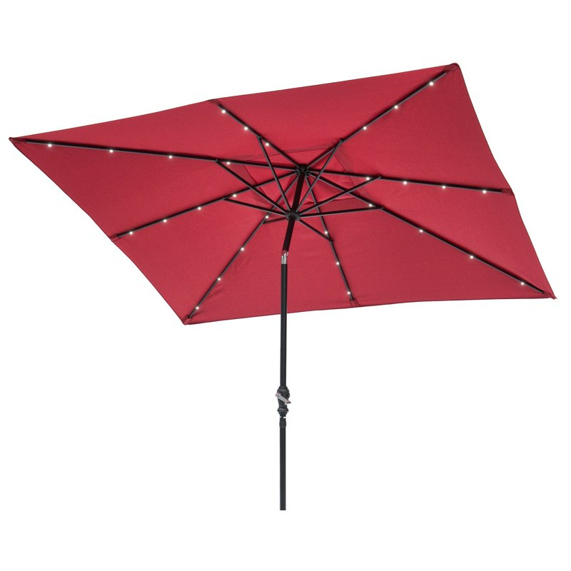Well Known Griselda Solar Lighted 9' X 7' Rectangular Market Umbrella Regarding Griselda Solar Lighted  Rectangular Market Umbrellas (View 22 of 25)