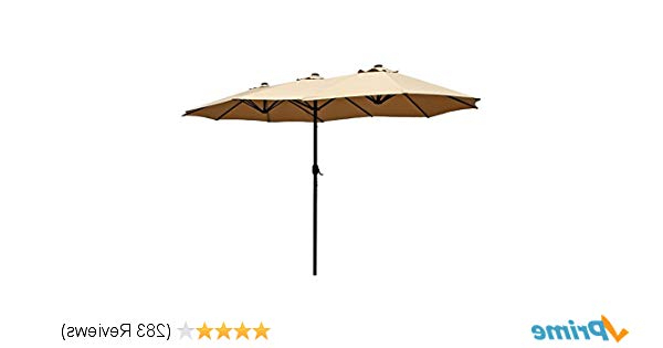 Well Known Le Papillon 15 Ft Market Outdoor Umbrella Double Sided Aluminum Table Patio  Umbrella With Crank, Beige Throughout Lagasse Market Umbrellas (View 21 of 25)