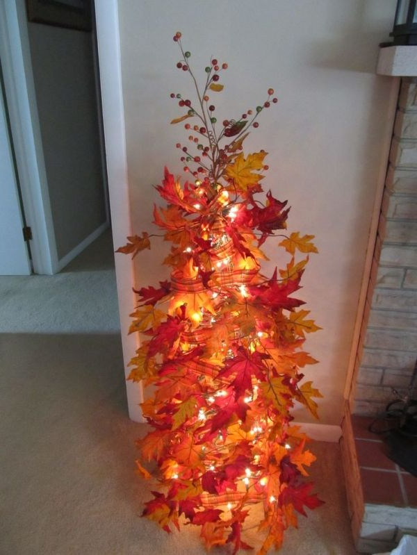 Well Known Made My Own Fall Tree Using A Tomato Cage, Christmas Lights, Fall Regarding Branam Lighted Umbrellas (View 15 of 25)