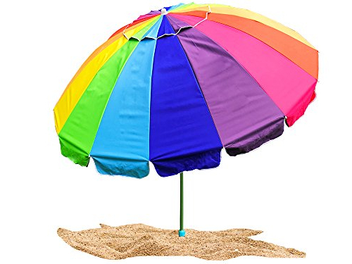 Well Known Party With Pride Giant 8' Rainbow Beach Umbrella / With Uv Protection /  Includes Durable Carry Bag / For Sun And Outdoor / Windproof (Rainbow) With Regard To Featherste Market Umbrellas (View 20 of 25)