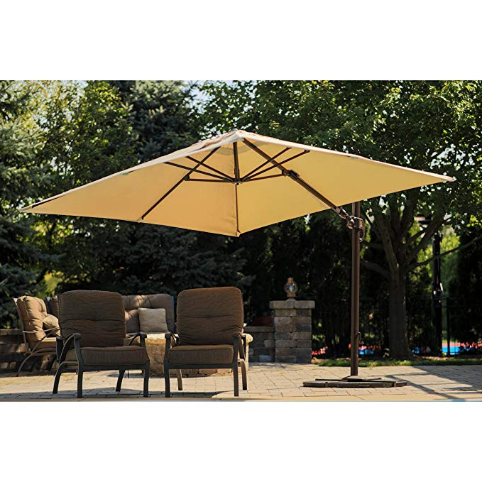 Well Known Santorini Ii 10 Ft Square Cantilever Umbrella In Beige Sunbrella Acrylic Intended For Spitler Square Cantilever Umbrellas (View 11 of 25)