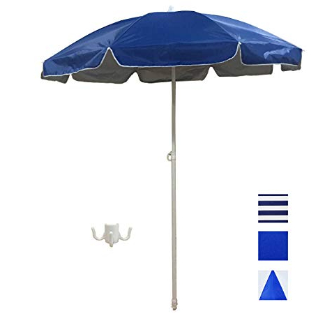 Well Known Shaderest 6' Portable Beach Umbrella, Uv Protection With Sand Anchor And  Carry Bag—Blue With Silver Coating Inside Margaritaville Green And Blue Striped Beach With Built In Sand Anchor Umbrellas (View 25 of 25)
