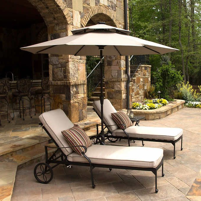 Well Known Stacy Market Umbrellas With 9' Led Solar Market Umbrellaseasons Sentry (View 22 of 25)