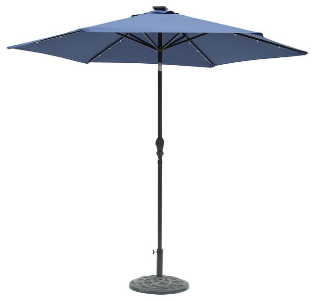 Well Known Sun Ray Round 6 Rib Solar Lighted Umbrella, Navy Blue, 9' Pertaining To Sun Ray Solar Cantilever Umbrellas (View 11 of 25)