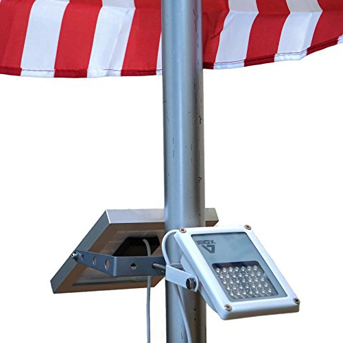 Well Liked Alpha 180X Flag Pole Light (Warm White Led) For Solar Flagpole  Lighting/cast Iron Street Light Style Doubled As Floodlight/u Bracket Fits  Max Pole In Hettie Solar Lighted Market Umbrellas (View 22 of 25)