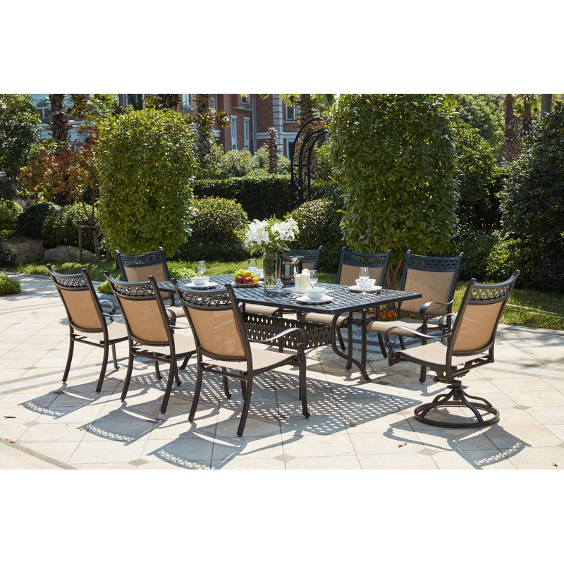 Well Liked Curacao Traditional 9 Piece Dining Set Pertaining To Madalyn Rectangular Market Sunbrella Umbrellas (View 19 of 25)