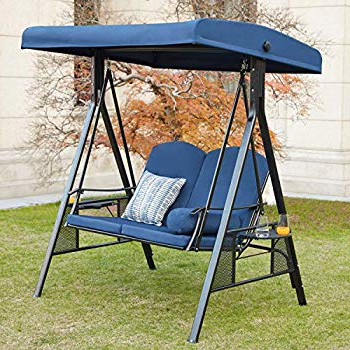 Well Liked Darwen Tiltable Patio Stripe Market Umbrellas Within Amazon : Abba Patio 2 Person Adjustable Canopy Porch Swing With (View 24 of 25)