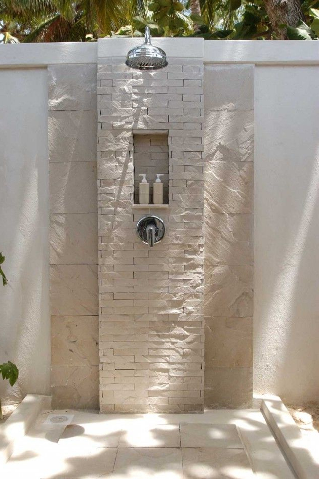 Well Liked Hilma Solar Cantilever Umbrellas In 21 Wonderful Outdoor Shower And Bathroom Design Ideas (View 13 of 25)