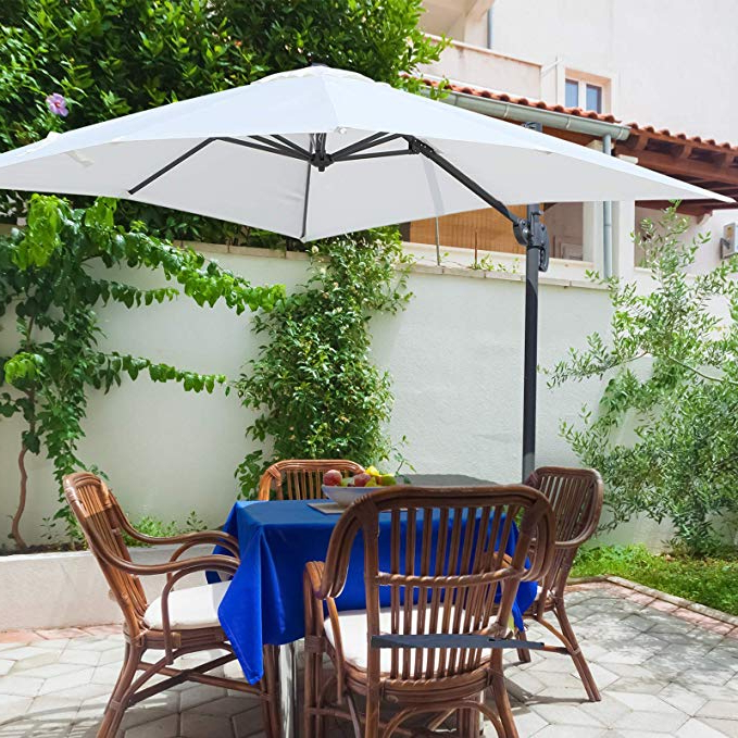 Well Liked Outsunny 8'x8' Square Patio Hanging Offset Umbrella Outdoor Cantilever  Crank Market Parasol Garden Sun Canopy Shelter 360° Rotation W/cross Base  Cream In Dore Patio Cantilever Umbrellas (View 24 of 25)