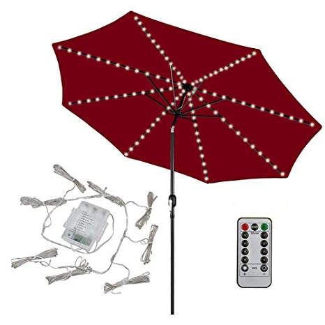Well Liked Patio Led Umbrella String Lights,104 Leds 8 Lighting Mode With Remote  Control Umbrella Lights Battery Operated Waterproof Outdoor Lighting For  Patio With Annabelle Market Umbrellas (View 25 of 25)