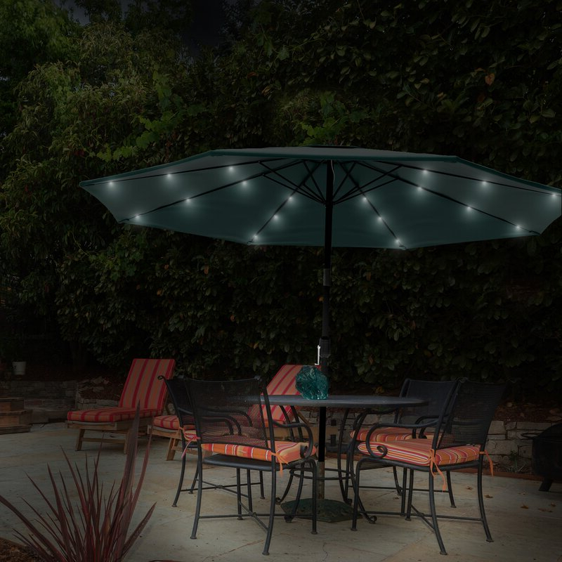 Well Liked Solar Powered Led Patio Umbrella With Solar Powered Led Patio Umbrellas (View 24 of 25)