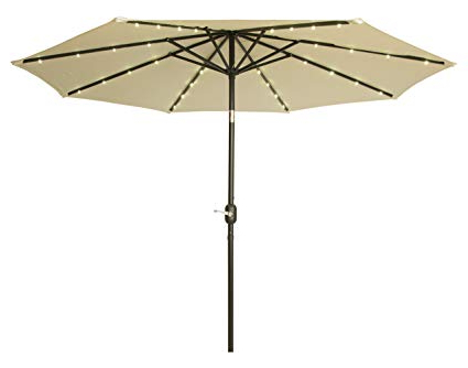 Well Liked Trademark Innovations 9' Deluxe Solar Powered Led Lighted Patio Umbrella (Beige) Within Solar Powered Led Patio Umbrellas (View 25 of 25)