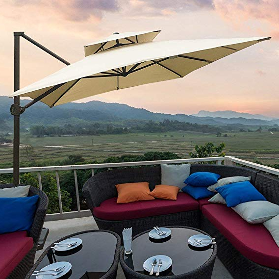 Widely Used Abba Patio 912 Feet Rectangular Offset Cantilever Dual Wind Vent Patio  Hanging Umbrella With Cross Base, Beige With Fazeley  Rectangular Cantilever Umbrellas (View 6 of 25)