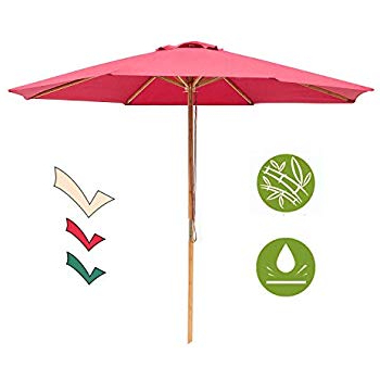 Widely Used Amazon : 9' Red Patio Umbrella – Outdoor Wooden Market Umbrella For Docia Market Umbrellas (View 11 of 25)