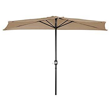 Widely Used Amazon : Castlecreek 8' Half Round Patio Umbrella, Khaki Within Colburn Half Market Umbrellas (View 10 of 25)