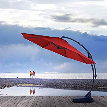 Widely Used Amazon : Le Papillon 10 Ft Cantilever Umbrella Outdoor Offset Regarding Tottenham Patio Hanging Offset Cantilever Umbrellas (View 25 of 25)