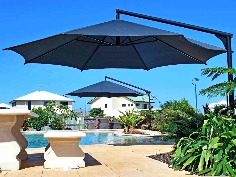 Widely Used Black Patio Umbrella Offset With Base Threshold Round Pole Brand New Pertaining To Phat Tommy Cantilever Umbrellas (View 19 of 25)