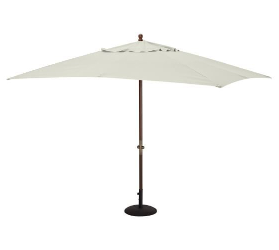 Widely Used Cordelia Rectangular Market Umbrellas Throughout Rectangular Umbrella With Eucalyptus Pole, Outdoor Canvas, Stone (View 25 of 25)