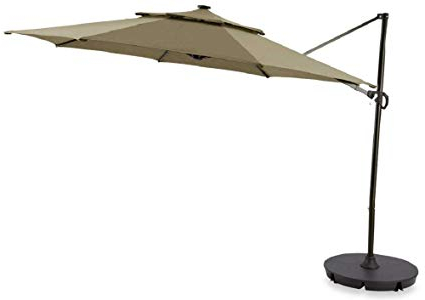 Widely Used Destination Gear Square Market Umbrellas With Regard To Destination Summer Outdoor Patio Cantilever Umbrella 11 Foot Round Canopy  With Solor Powered Lights Includes Base Stand And Storage Cover (Mocha) (View 22 of 25)