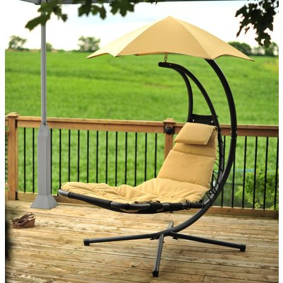 Widely Used Ebern Designs Maglione Hanging Chaise Lounger With Stand Color: Sand For Maglione Fabric Cantilever Umbrellas (View 25 of 25)